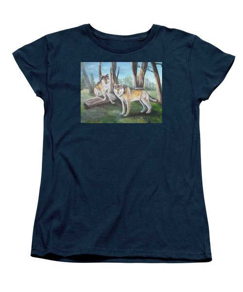 Women's T-Shirt (Standard Cut) featuring the painting Wolves In The Forest by Thomas J Herring