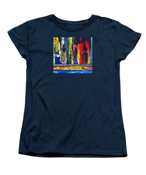 Women's T-Shirt (Standard Cut) featuring the painting Women In Ceremony by Kicking Bear  Productions