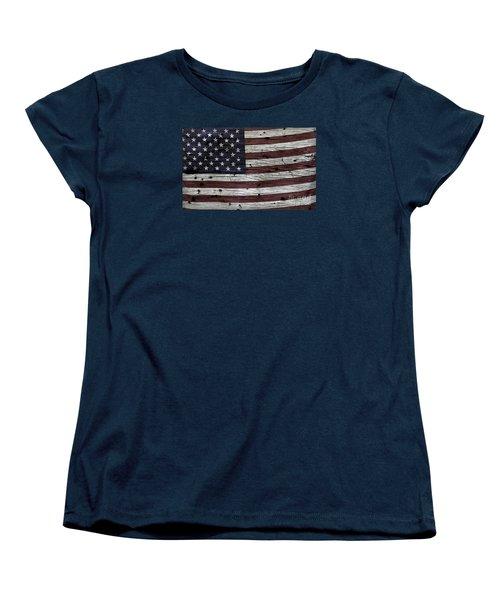 Wooden Textured Usa Flag3 Women's T-Shirt (Standard Cut)