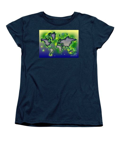 World Map Amuza In Blue Yellow And Green Women's T-Shirt (Standard Cut) by Eleven Corners