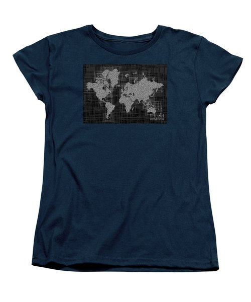 World Map Rettangoli In Black And White Women's T-Shirt (Standard Cut) by Eleven Corners