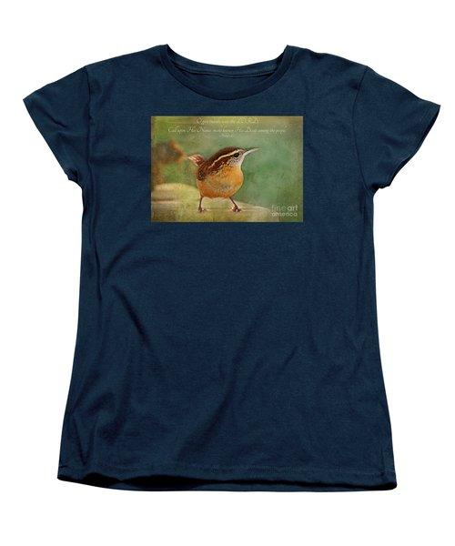 Wren With Verse Women's T-Shirt (Standard Cut) by Debbie Portwood