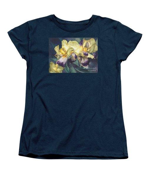 Women's T-Shirt (Standard Cut) featuring the painting Yellow And Purple Streaked Irises by Greta Corens