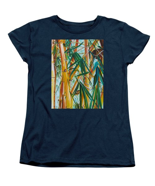 Women's T-Shirt (Standard Cut) featuring the painting Yellow Bamboo by Marionette Taboniar