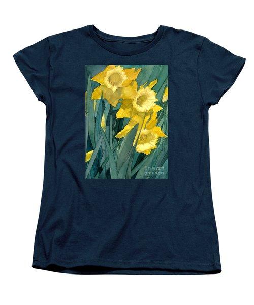 Women's T-Shirt (Standard Cut) featuring the painting Yellow Daffodils by Greta Corens