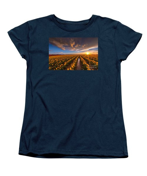 Yellow Fields And Sunset Skies Women's T-Shirt (Standard Cut) by Mike Reid
