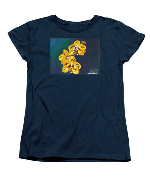 Women's T-Shirt (Standard Cut) featuring the painting Yellow Orchids by Laura Forde