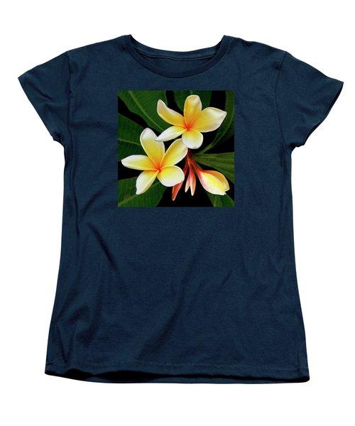 Yellow Plumeria Women's T-Shirt (Standard Cut) by Ben and Raisa Gertsberg