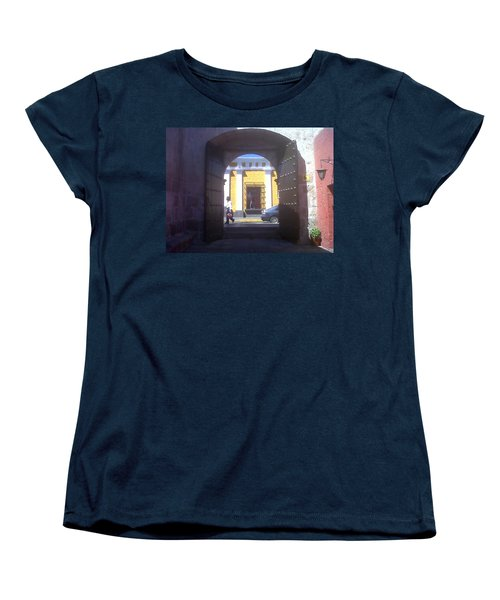 Women's T-Shirt (Standard Cut) featuring the photograph Yellow Stucco by Lew Davis