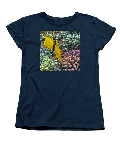 Yellow Tang Pair Women's T-Shirt (Standard Cut) by Peggy Hughes