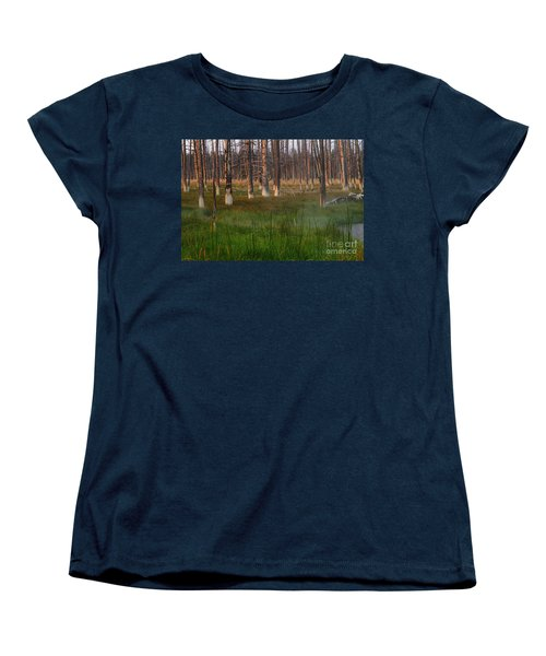 Women's T-Shirt (Standard Cut) featuring the photograph Yellowstone Mysterious Morning by Teresa Zieba