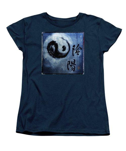 Women's T-Shirt (Standard Cut) featuring the photograph Yin  Yang Brush Calligraphy by Peter v Quenter