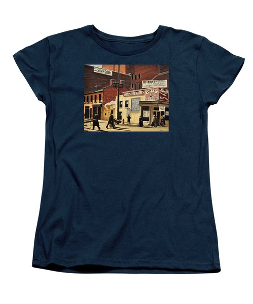 Women's T-Shirt (Standard Cut) featuring the painting Yonge And Richmond Streets 1899 by Kenneth M  Kirsch