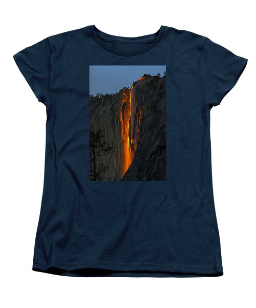 Yosemite Horsetail Falls Women's T-Shirt (Standard Cut) by Duncan Selby
