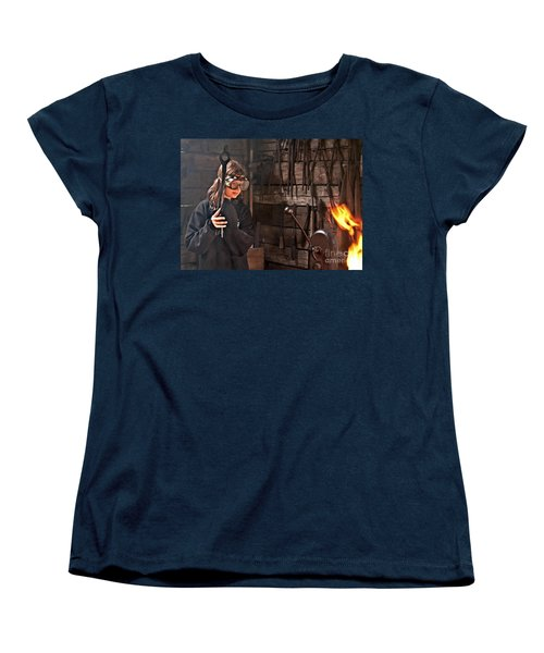 Young Blacksmith Girl Art Prints Women's T-Shirt (Standard Cut) by Valerie Garner