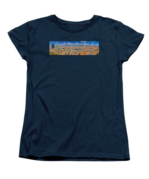 Zagreb Lower Town Colorful Panoramic View Women's T-Shirt (Standard Cut) by Brch Photography