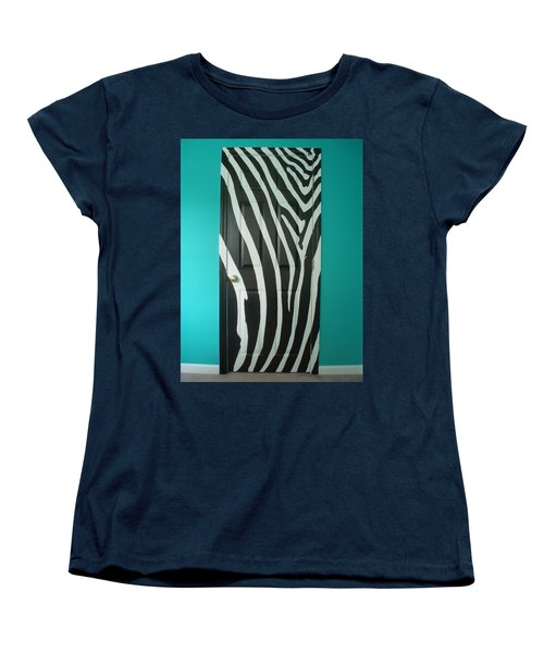 Zebra Stripe Mural - Door Number 1 Women's T-Shirt (Standard Cut) by Sean Connolly