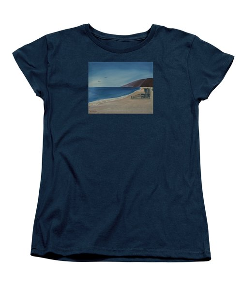 Zuma Lifeguard Tower Women's T-Shirt (Standard Cut) by Ian Donley