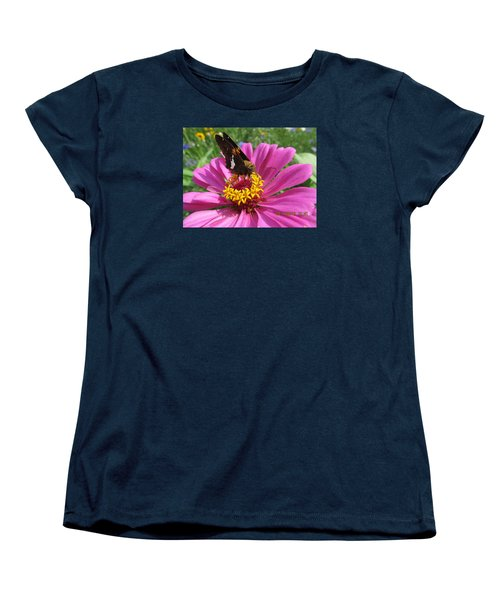 Women's T-Shirt (Standard Cut) featuring the photograph  Butterfly On Pink Flower by Tina M Wenger
