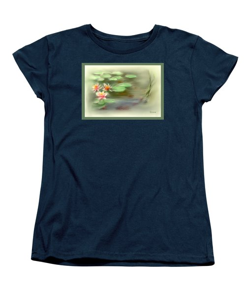 Women's T-Shirt (Standard Cut) featuring the painting  Gold Fish Pond by Bonnie Willis