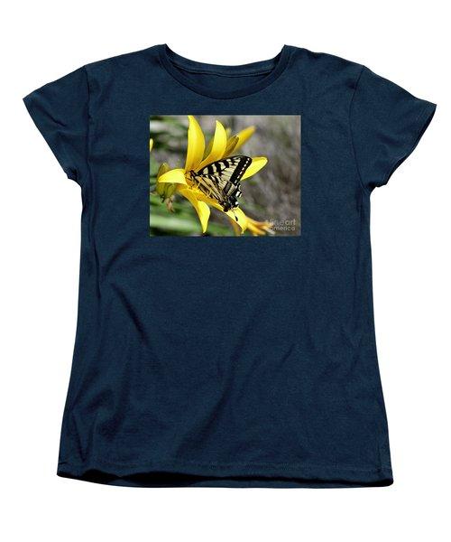 Swallowtail Yellow Lily Women's T-Shirt (Standard Cut) by Diane E Berry