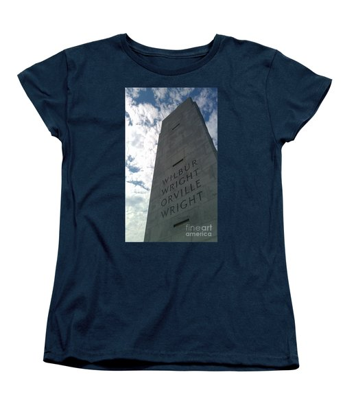 Women's T-Shirt (Standard Cut) featuring the sculpture Wright Brothers Memorial by Tony Cooper