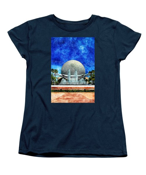 Women's T-Shirt (Standard Cut) featuring the digital art Spaceship Earth And Fountain Of Nations by Sandy MacGowan