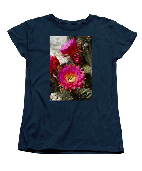 Pink Cactus Flowers Women's T-Shirt (Standard Cut) by Jim and Emily Bush