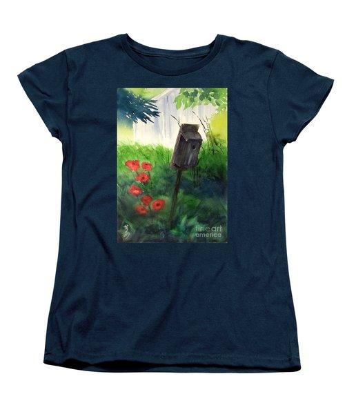 Women's T-Shirt (Standard Cut) featuring the painting A Bird House In The Geddes Farm --ann Arbor Michigan by Yoshiko Mishina