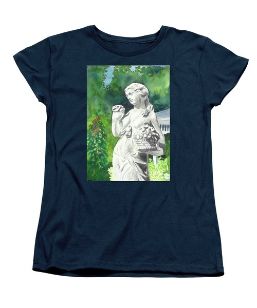 Women's T-Shirt (Standard Cut) featuring the painting A Statue At The Wellers Carriage House -2 by Yoshiko Mishina
