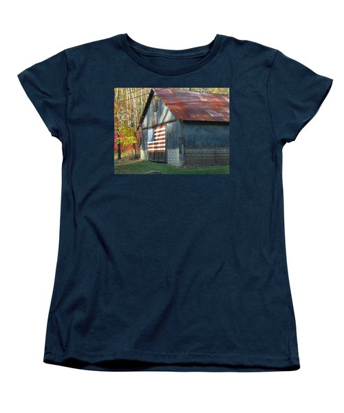 Women's T-Shirt (Standard Cut) featuring the photograph Americana Barn by Clara Sue Beym