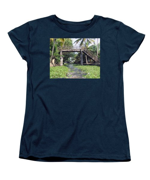 An Old Stone Bridge Over A Canal In Alleppey Women's T-Shirt (Standard Cut) by Ashish Agarwal