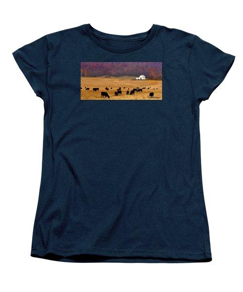 Women's T-Shirt (Standard Cut) featuring the photograph Angus And Oaks  Farm by Randall Branham
