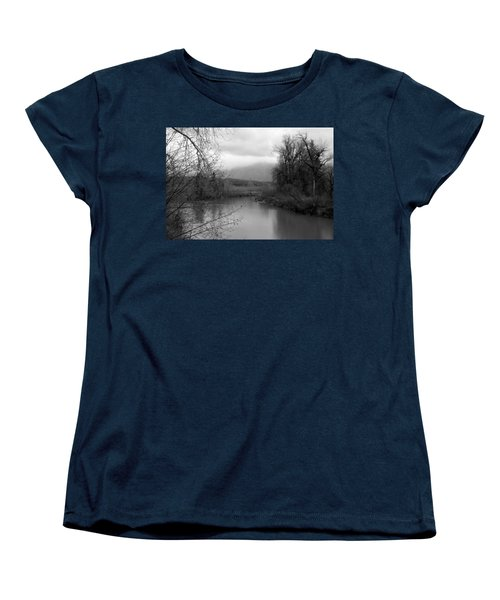 At The River Turn Bw Women's T-Shirt (Standard Cut) by Kathleen Grace