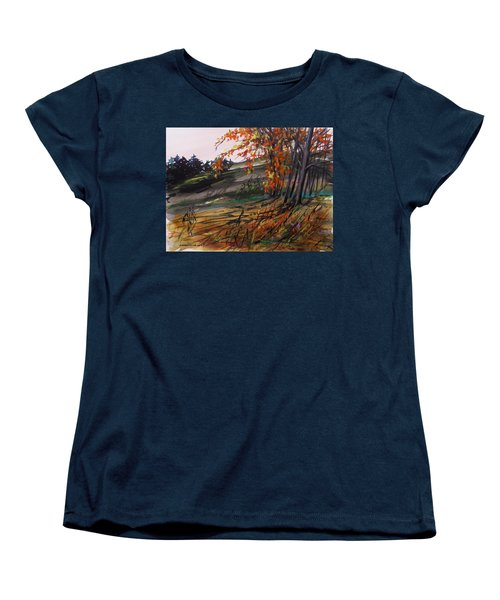 Women's T-Shirt (Standard Cut) featuring the painting Autumn Intensity by John Williams