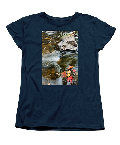 Women's T-Shirt (Standard Cut) featuring the photograph Autumn Stream by Cheryl Baxter