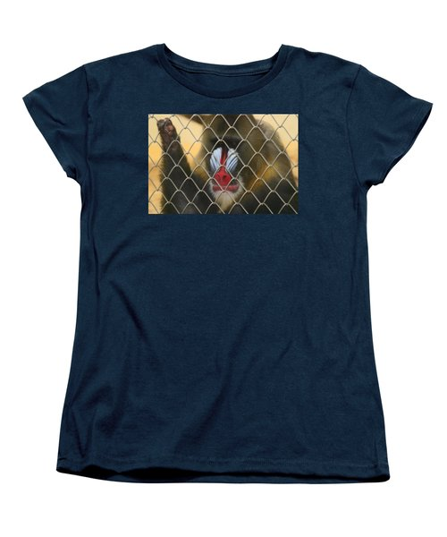 Women's T-Shirt (Standard Cut) featuring the photograph Baboon Behind Bars by Kym Backland