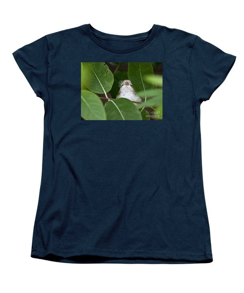 Women's T-Shirt (Standard Cut) featuring the photograph Baby Bird Peeping In The Bushes by Jeannette Hunt