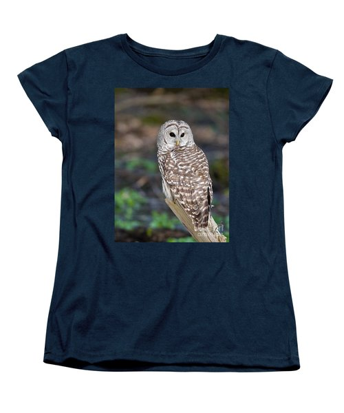 Women's T-Shirt (Standard Cut) featuring the photograph Barred Owl by Les Palenik