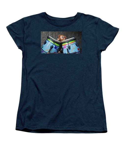 Women's T-Shirt (Standard Cut) featuring the photograph Bear And His Drums At Walt Disney World by Thomas Woolworth