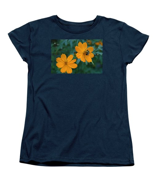 Women's T-Shirt (Standard Cut) featuring the photograph Bee On Cosmos Flower  by Tom Wurl