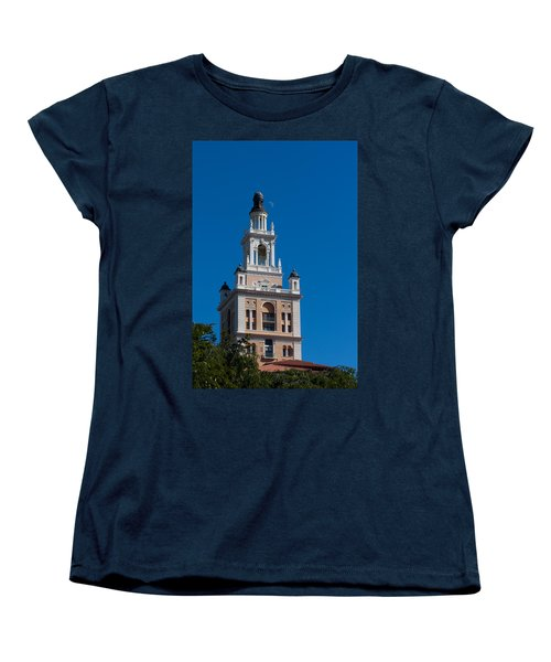 Women's T-Shirt (Standard Cut) featuring the photograph Biltmore Hotel Tower And Moon by Ed Gleichman