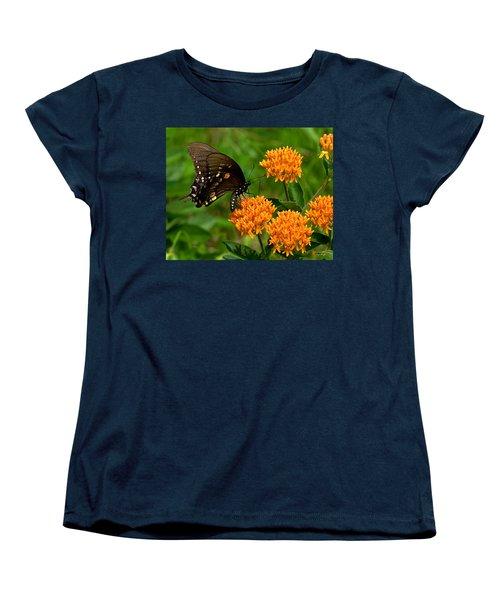 Black Swallowtail Visiting Butterfly Weed Din012 Women's T-Shirt (Standard Cut) by Gerry Gantt