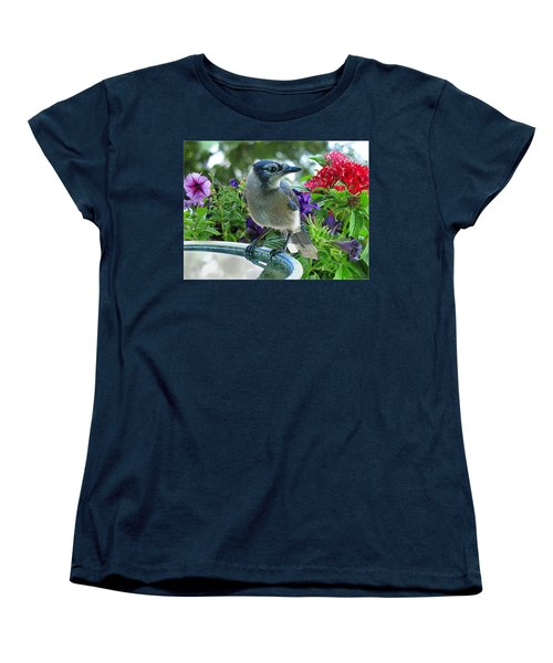 Women's T-Shirt (Standard Cut) featuring the photograph Blue Jay At Water by Debbie Portwood