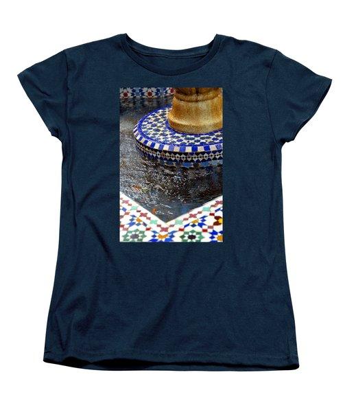 Blue Mosaic Fountain II Women's T-Shirt (Standard Cut) by Bonnie Myszka