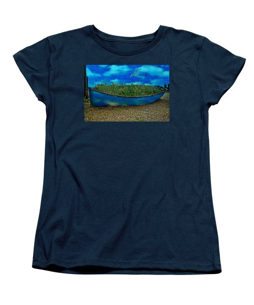 Women's T-Shirt (Standard Cut) featuring the photograph Blue Sky Boat  by Chris Lord