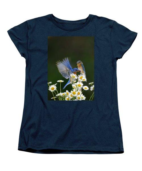 Women's T-Shirt (Standard Cut) featuring the photograph Bluebirds Picnicking In The Daisies by Randall Branham
