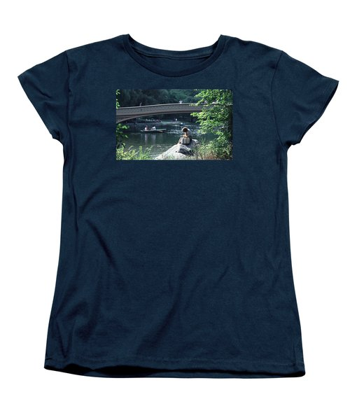 Women's T-Shirt (Standard Cut) featuring the photograph Bow Bridge In Central Park Nyc by Tom Wurl