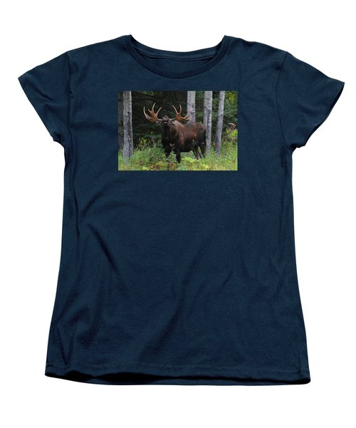 Women's T-Shirt (Standard Cut) featuring the photograph Bull Moose Flehmen by Doug Lloyd
