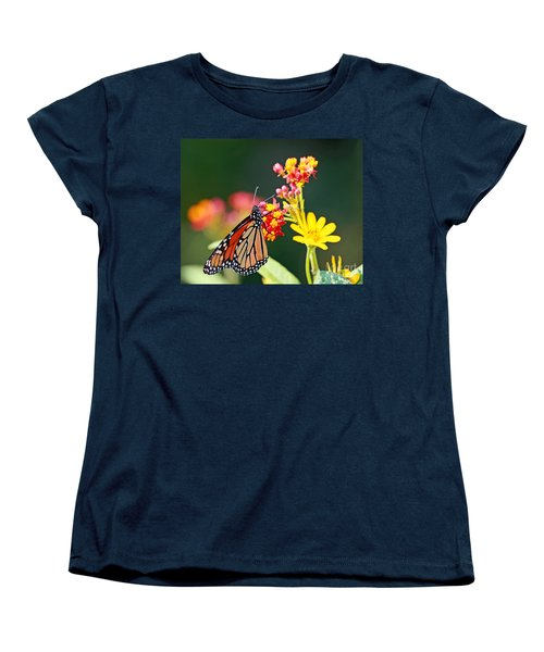 Butterfly Monarch On Lantana Flower Women's T-Shirt (Standard Cut) by Luana K Perez